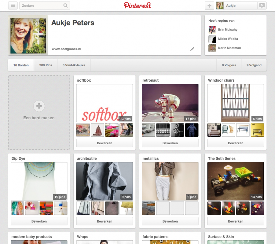 Pinterest pin boards